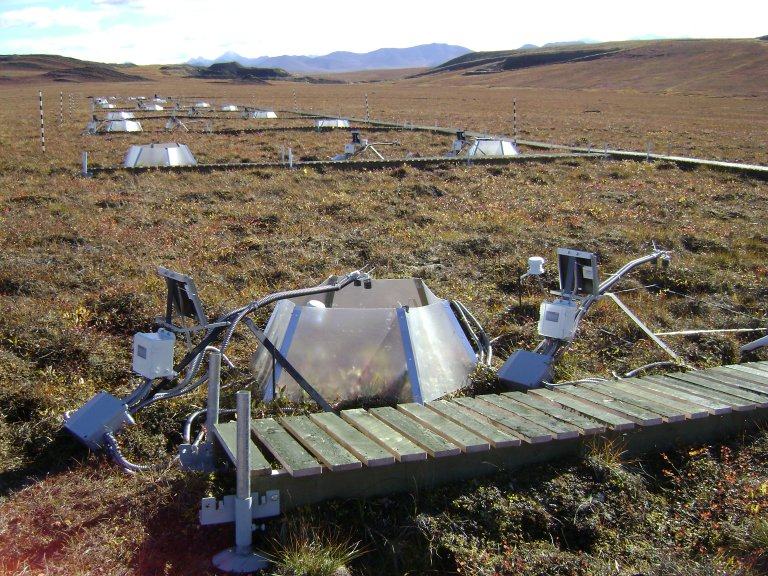 Mantis dataloggers on tundra, looking south to the Brooks Range